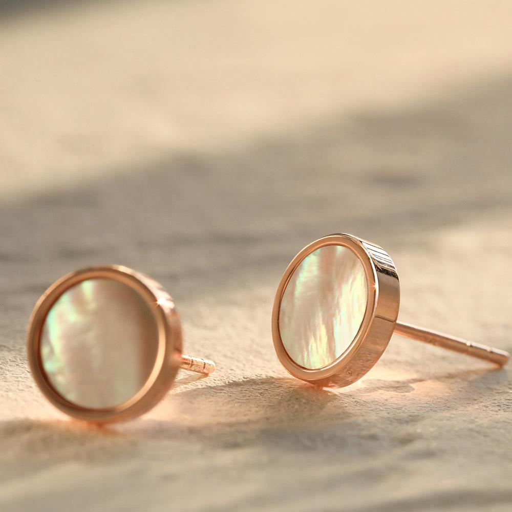 dainty everyday dainty Mother of Pearl Round Stud Earrings