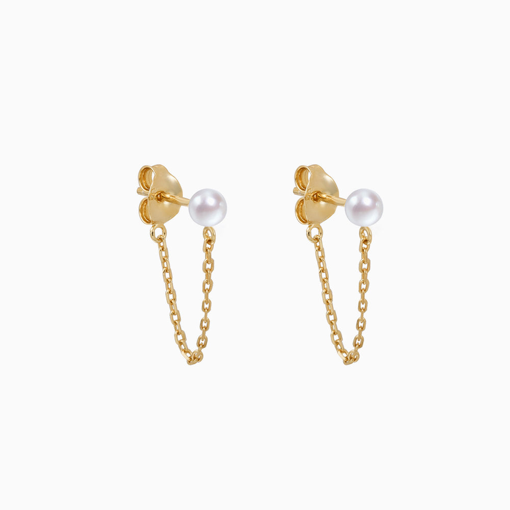 pearl chain dangle earrings gold