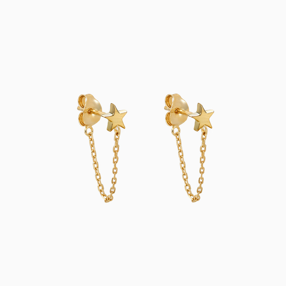 star chain dangle earrings gold