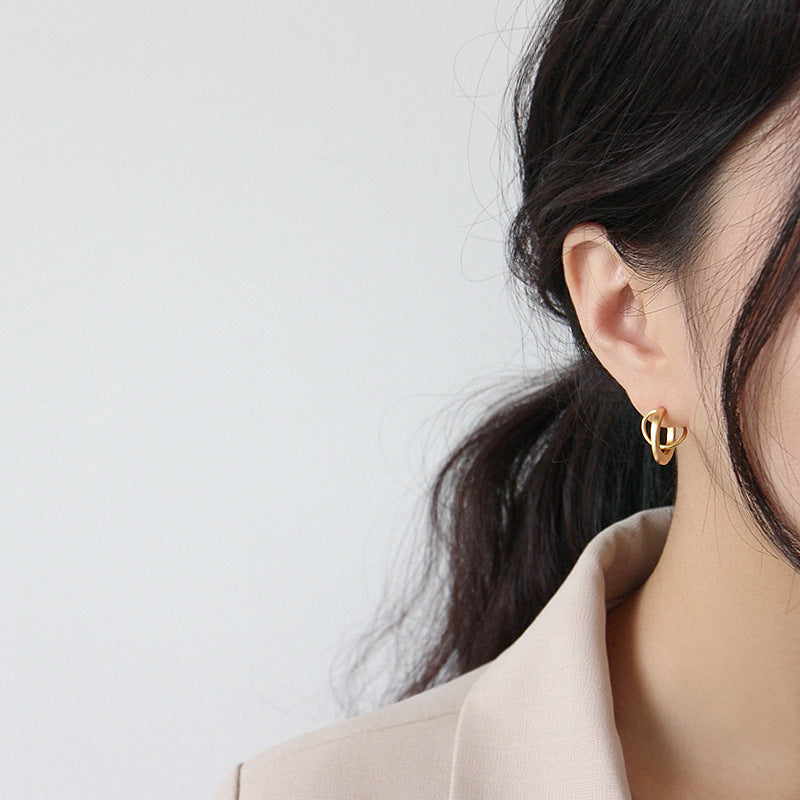 Planetary Trajectory Matte Stud Earrings Gold