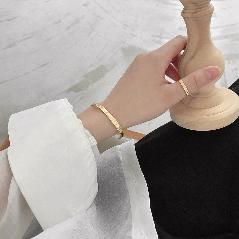 Gold Tinfoil Textured Bangle Chic Bracelets