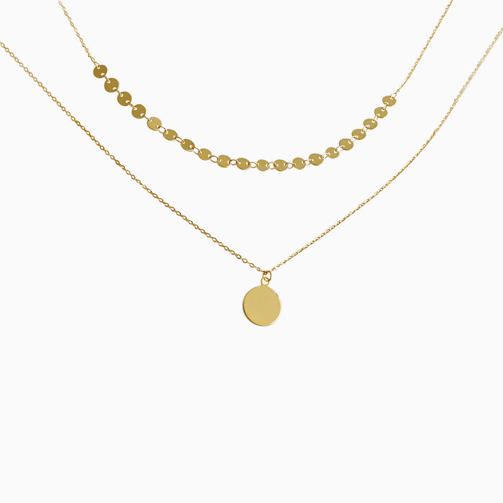 Minimalist Disc Layered Necklace for women gold