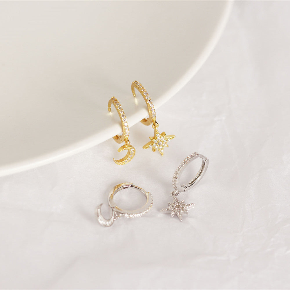 Cubic zirconia Moon Star Hoop Earrings sterling silver