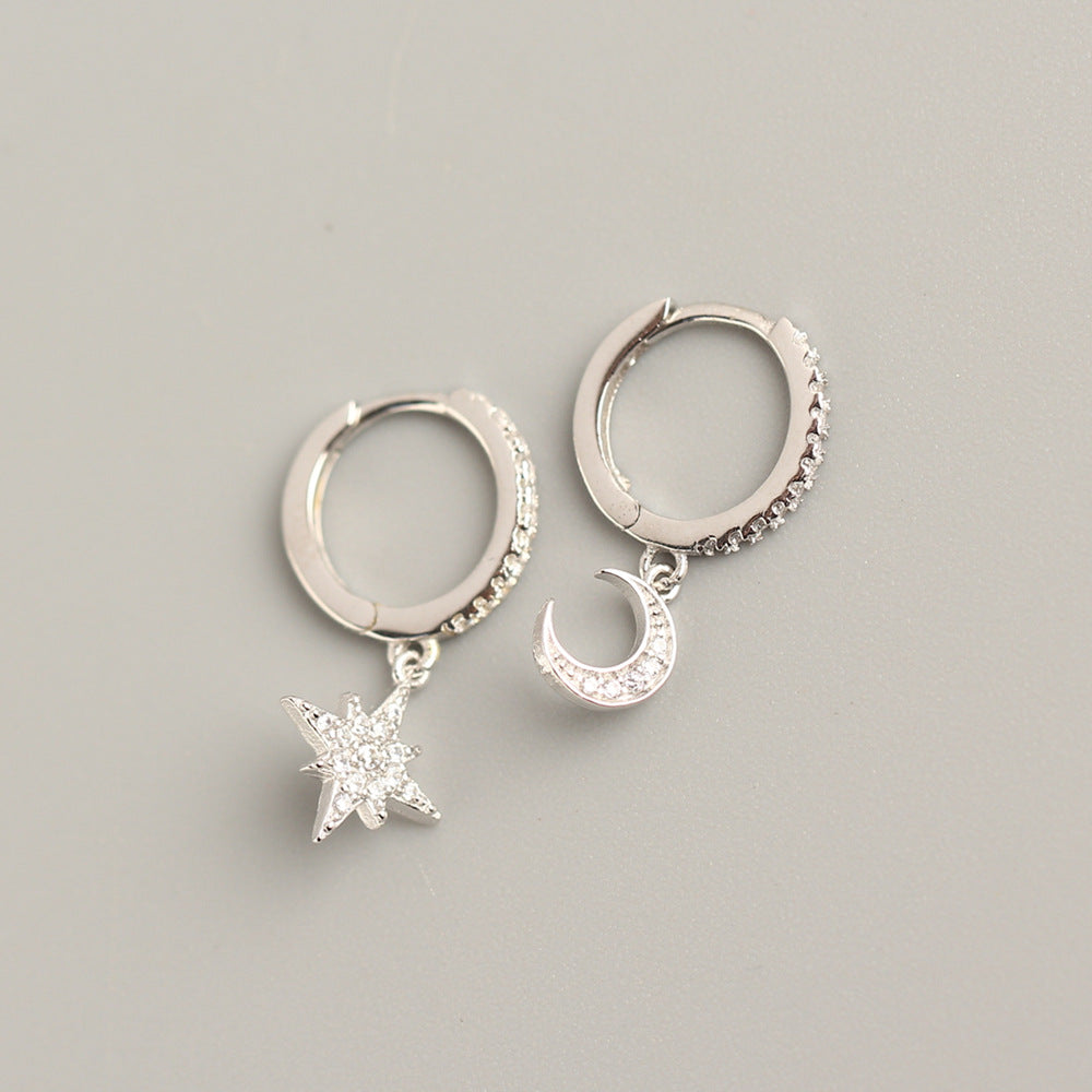 Sterling silver Cubic zirconia Moon Star Hoop Earrings Drop Earrings
