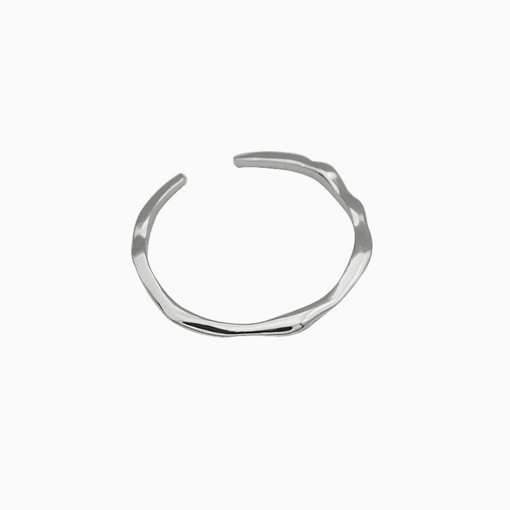 Cute Adjustable Minimalist Irregular Thin Open Ring Silver
