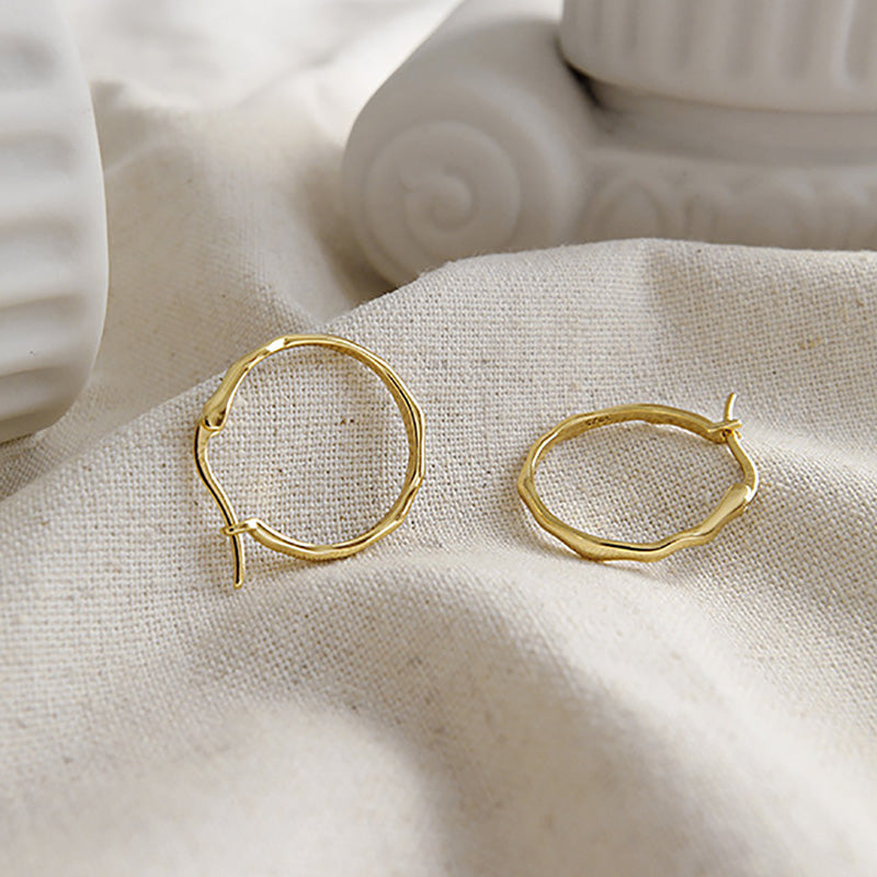 minimalist gold Irregular Surface Thin Hoop Earrings