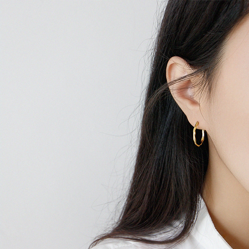 Gold plated hoops Irregular Surface Thin Hoop Earrings