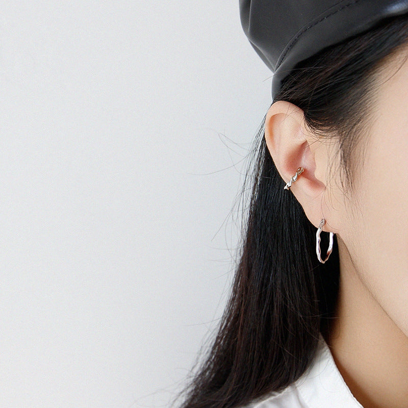 Irregular Surface Thin Hoop Earrings Silver simple midi hoops
