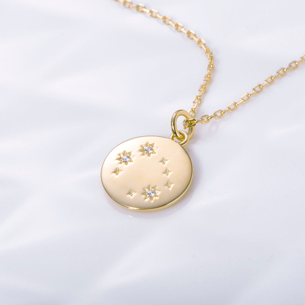 CZ Rose Gemini Zodiac Coin Necklace sterling silver