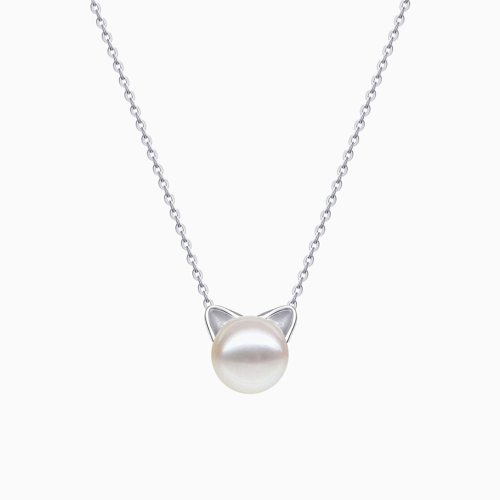 Cute Cat Pearl Pendant Necklace for Women