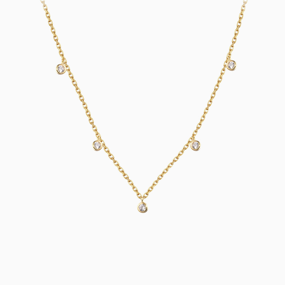 Gold Cubic Zirconia Pendant Choker Necklace