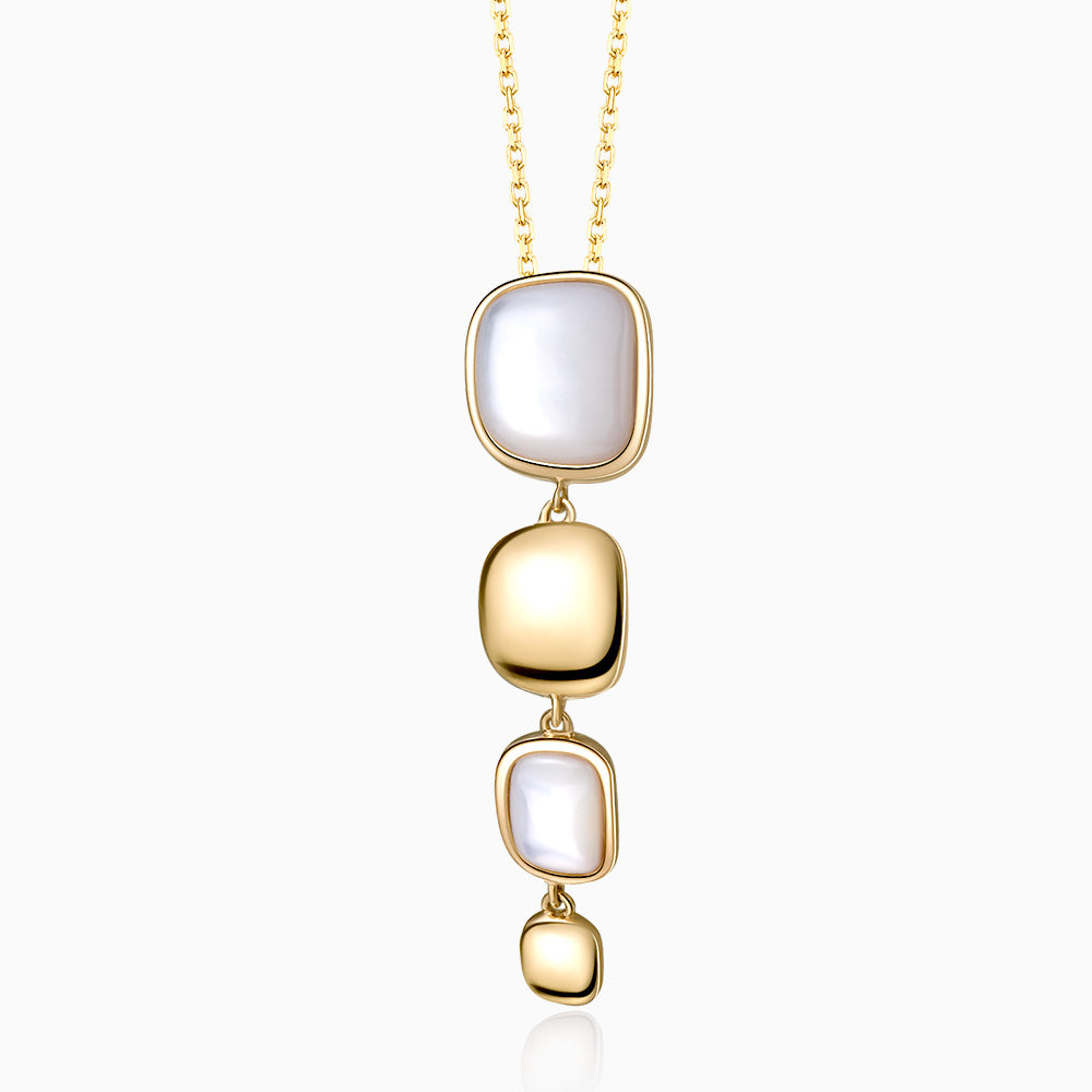 Handmade Vertical Mother Of Pearl Necklace gold