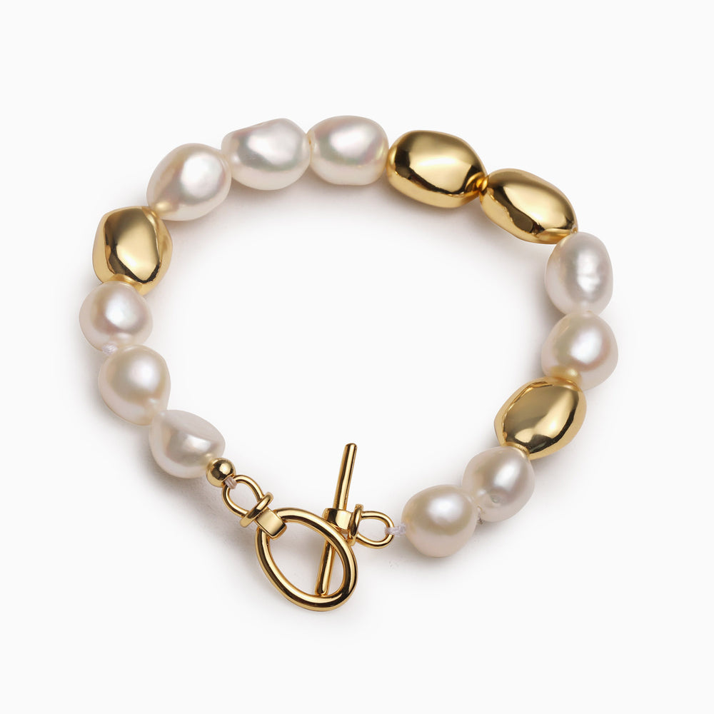 Vintage Gold Bead Baroque Pearl Bracelet for Women