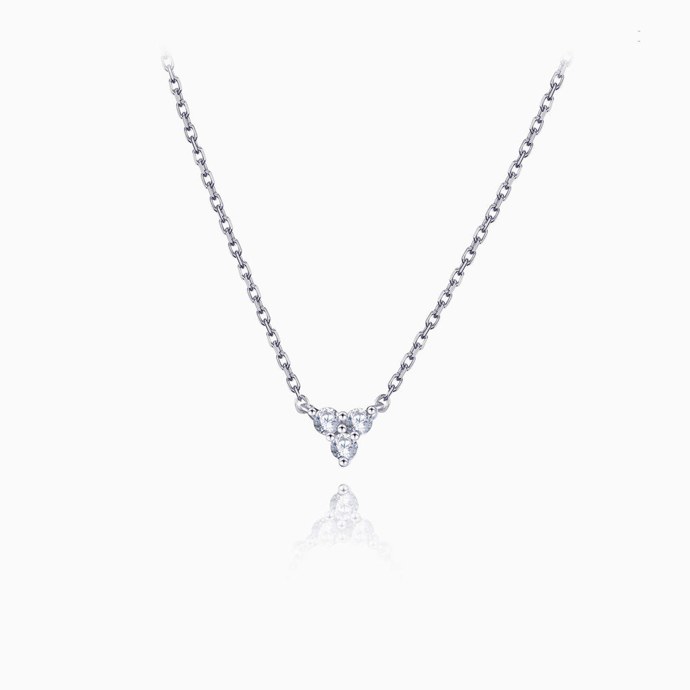 Triangle Cubic Zirconia Pendant Necklace silver