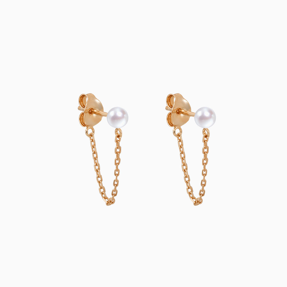 pearl chain dangle earrings rose gold