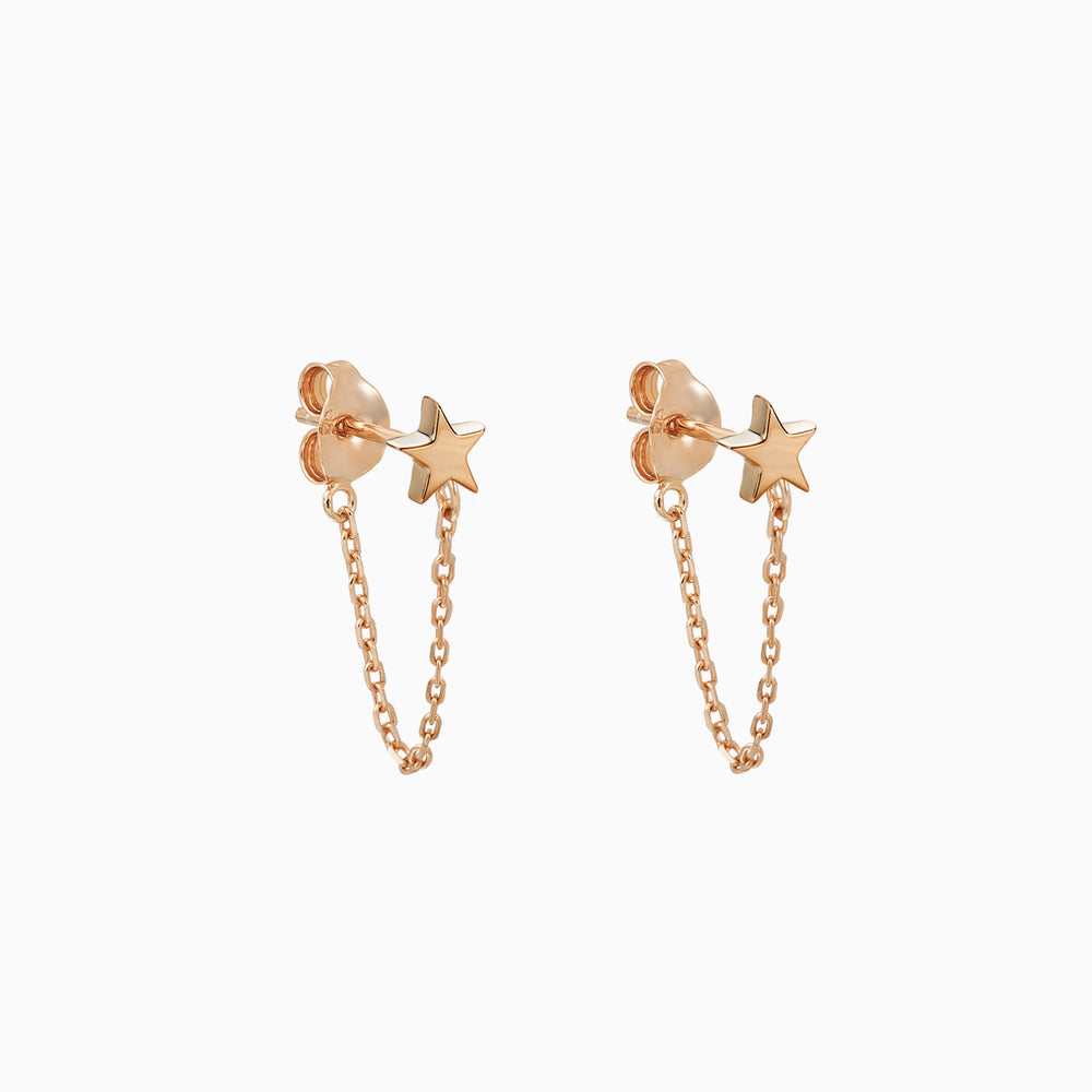 star with chain dangle earrings rose gold
