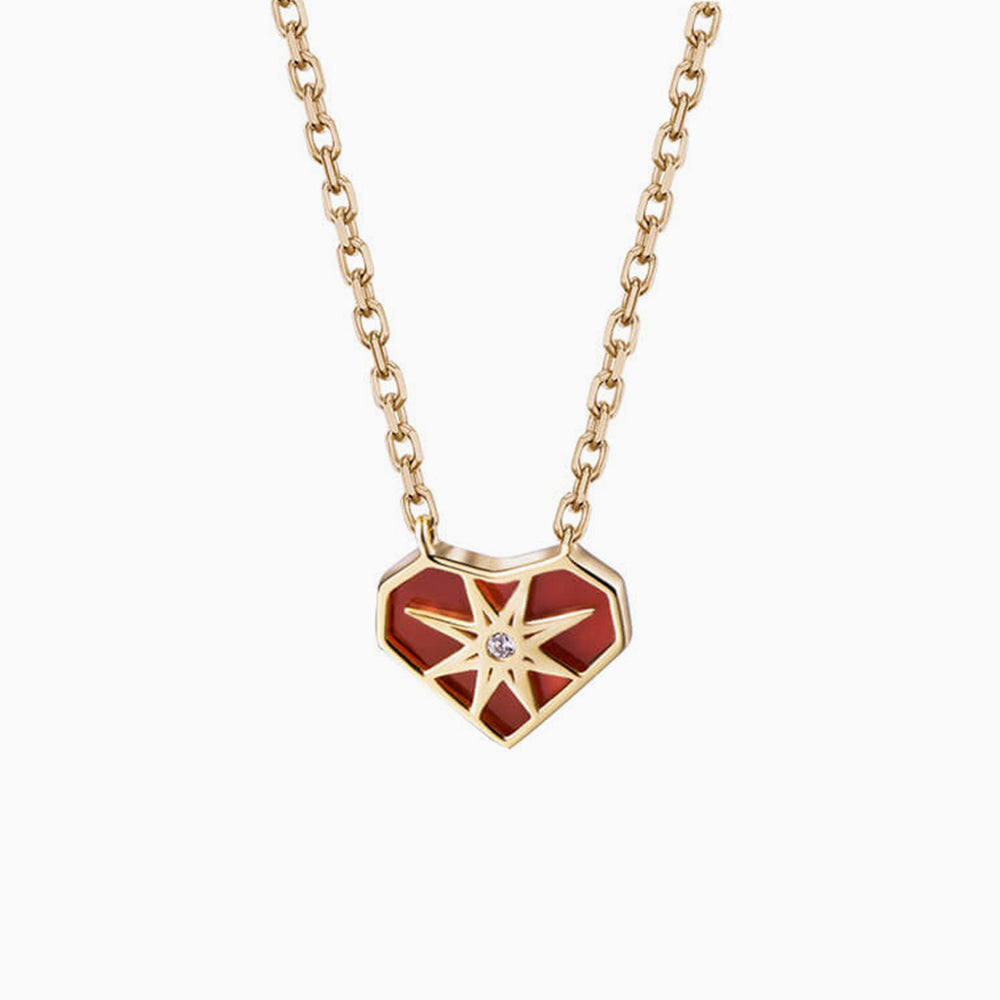 Agate Heart Star Signet Pendant Necklace for women