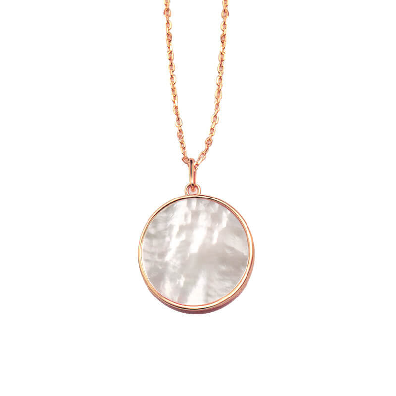 Double sided 18mm Mother of Pearl Round Pendant Necklace Christmas gifts