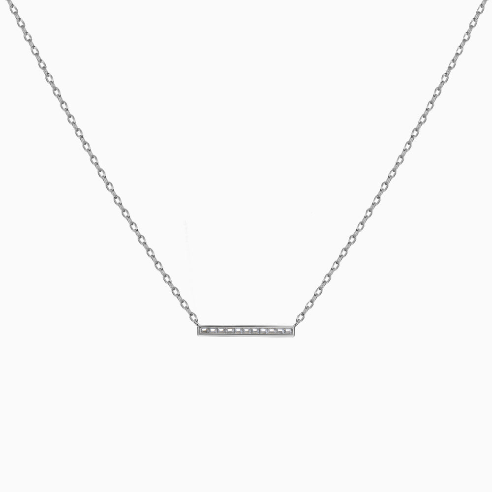 Cubic Zirconia Bar Necklace sterling silver