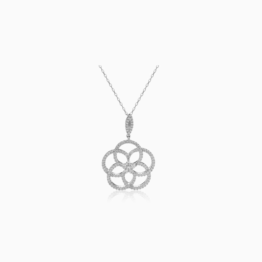 cubic zirconia camellia necklace sterling silver