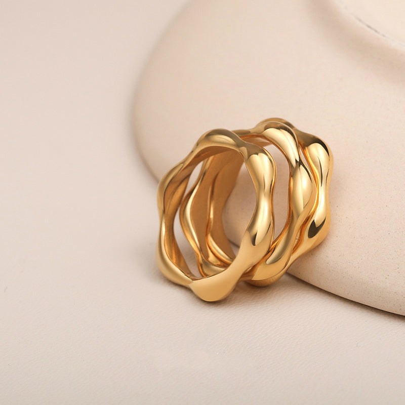 Dainty Cute Wave Ring Stackable Rings