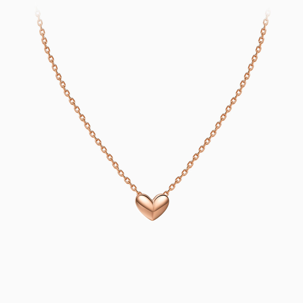 3D tiny Heart Necklace rose gold