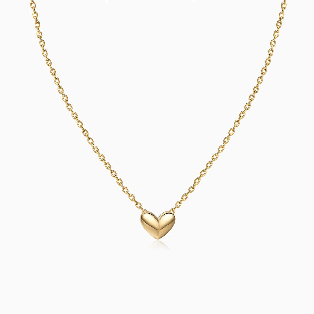 3D Heart Necklace gold