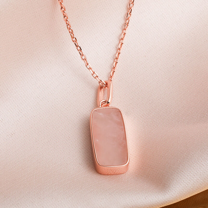 Minimalist Rectangle Pink Crystal Necklace for Women