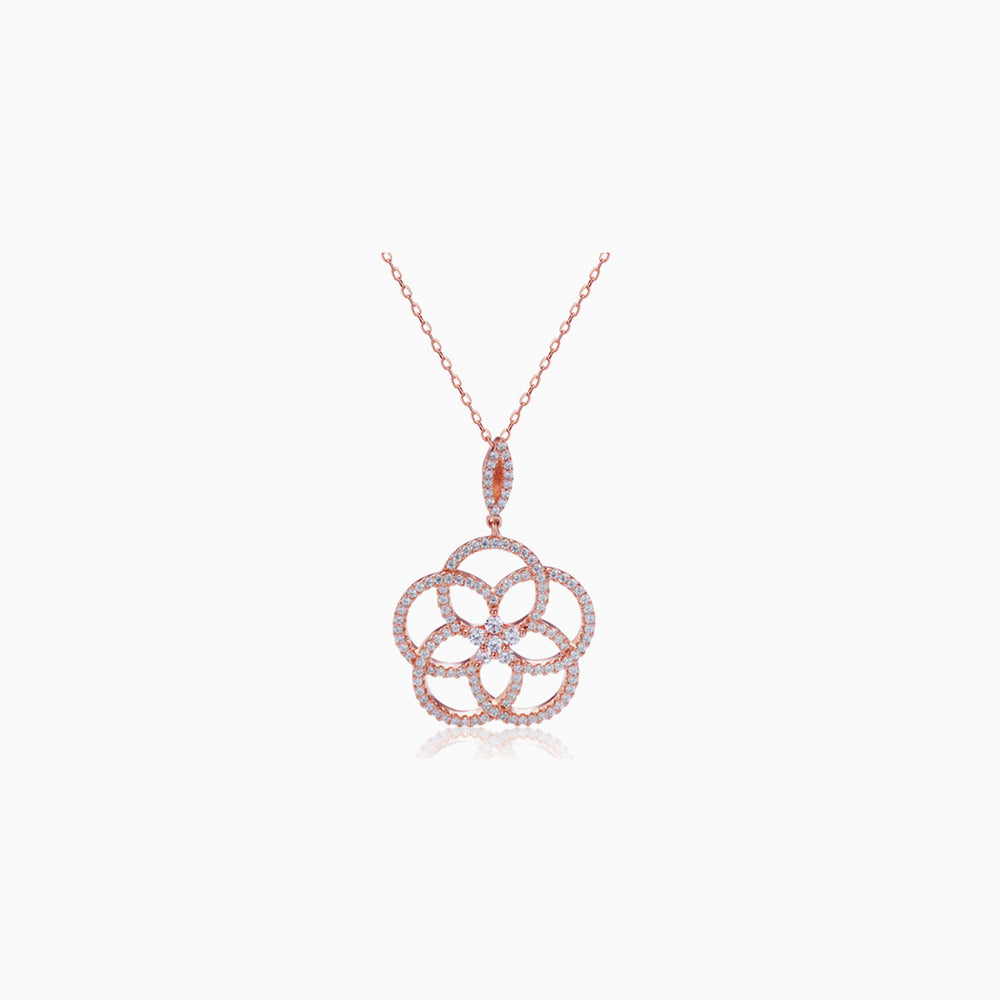 dainty CZ camellia pendant necklace rose gold