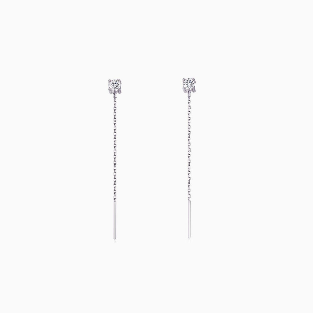 short Cubic Zirconia Threader Earrings silver