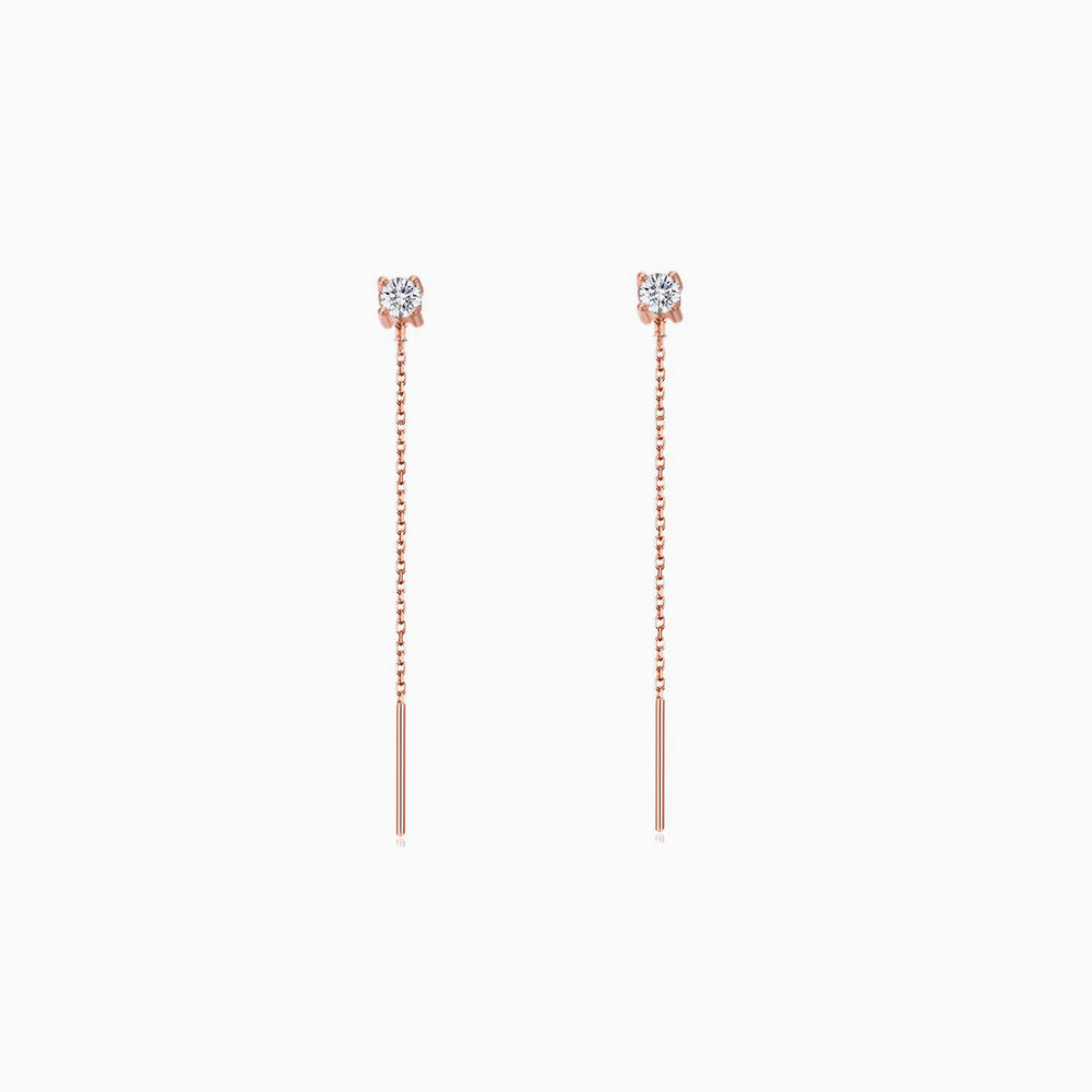 short sparkle CZ Threader Earrings rose gold earrings