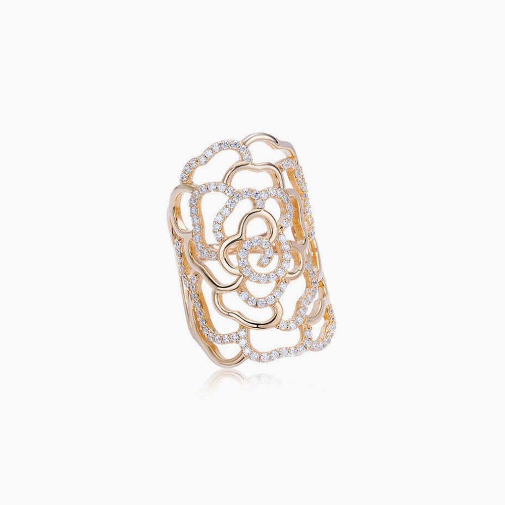 Cubic Zirconia Camellia Statement Ring Gold