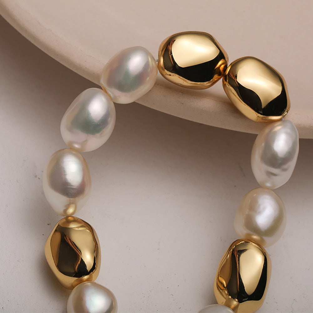 Gold Vintage Baroque Pearl Beaded Bracelet