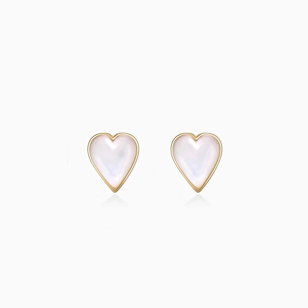 Mother of Pearl Heart Stud Earrings gold