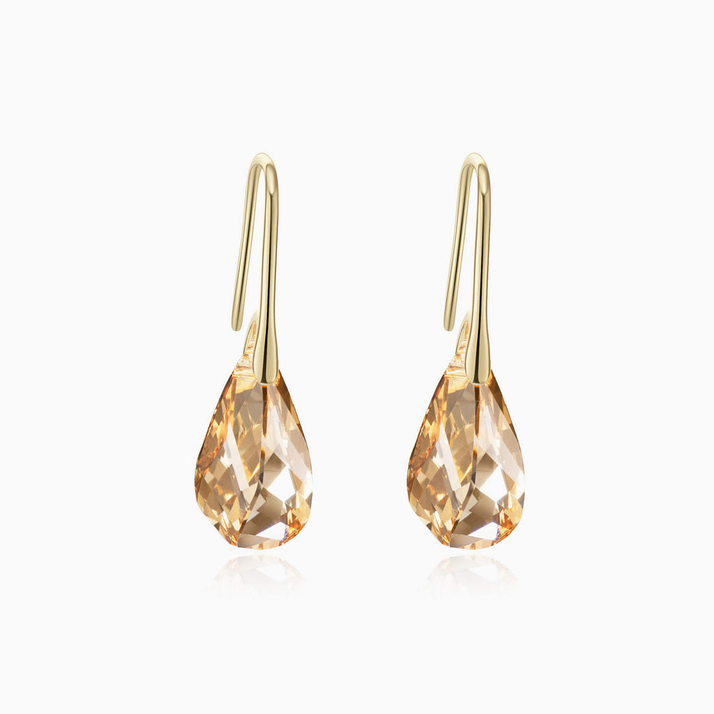 gold teardrop swarovski earrings
