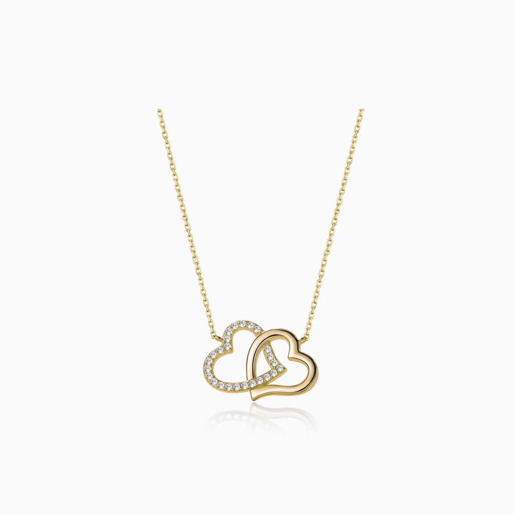 Cubic Zirconia heart pendant necklace gold