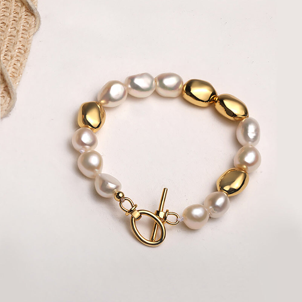 Gold Vintage Baroque Pearl Beaded Bracelet gift for her