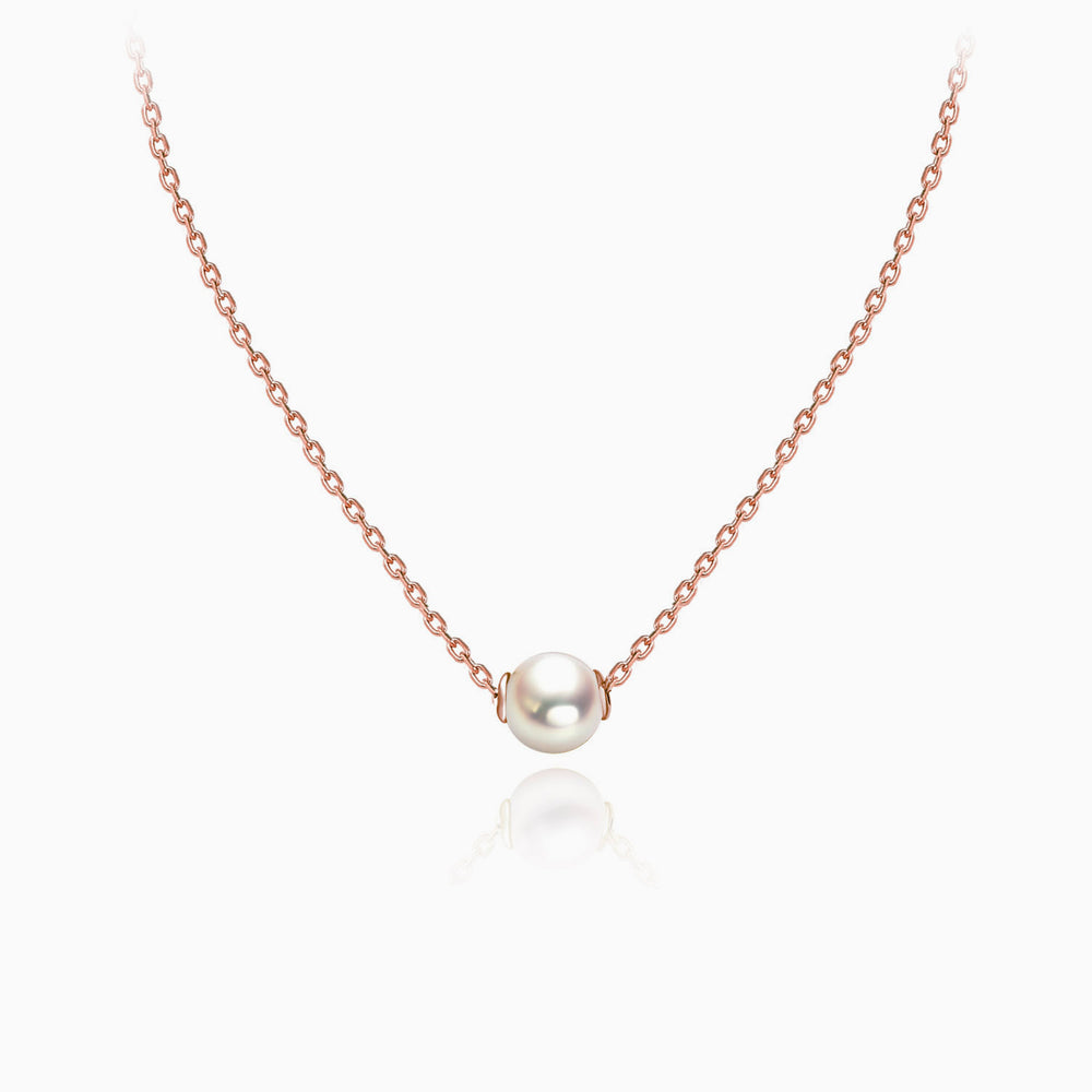 6mm white pearl necklace rose gold