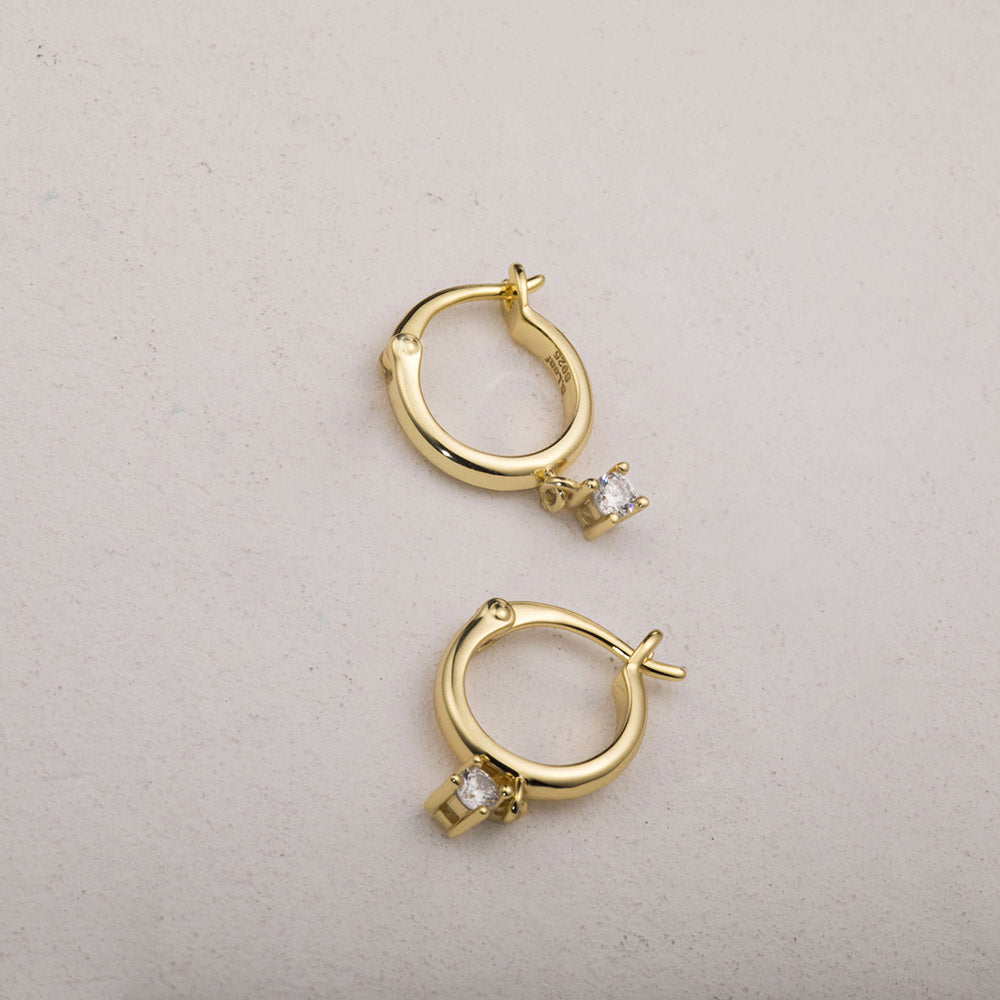 14k gold delicate CZ hoops earrings for women girls