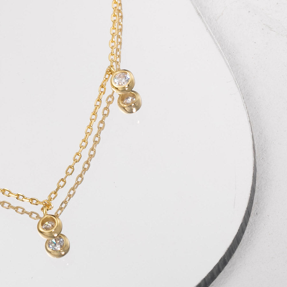 Small CZ pendant choker for women