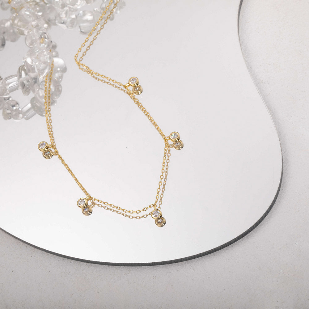 Cubic Zirconia Pendant Choker Necklace for women girls