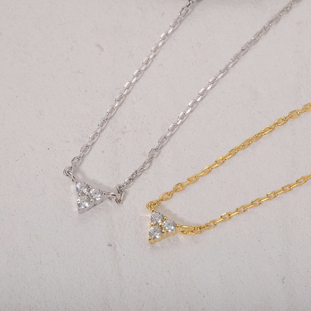 sterling silver cubic zircon mini triangle necklaces