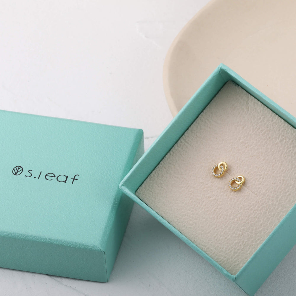 S.Leaf Solid 14k Gold Genuine Diamond Mini Infinity Stud Earrings