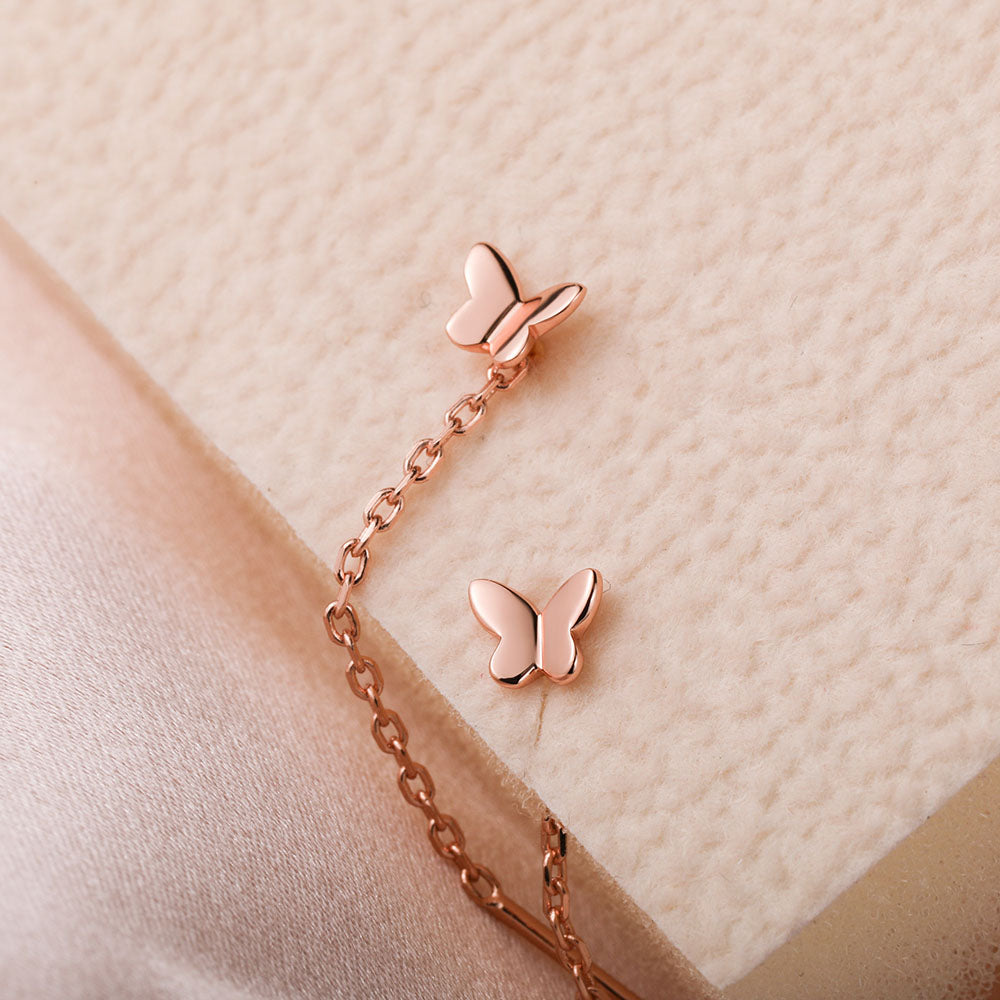 dainty Tiny Butterfly Threader Earrings cute holiday gift
