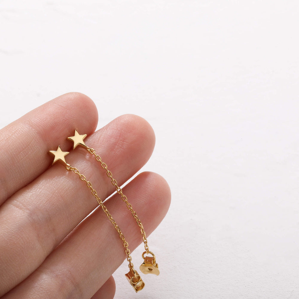 dainty star chain dangle earrings gold plated