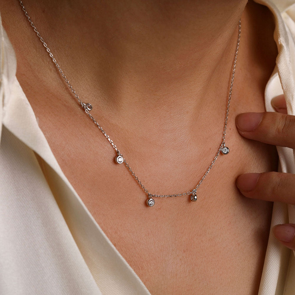 925 sterling silver Cubic Zirconia Pendant Choker Necklace