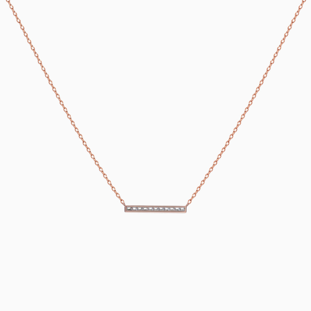 Cubic Zirconia Bar Necklace Rose Gold