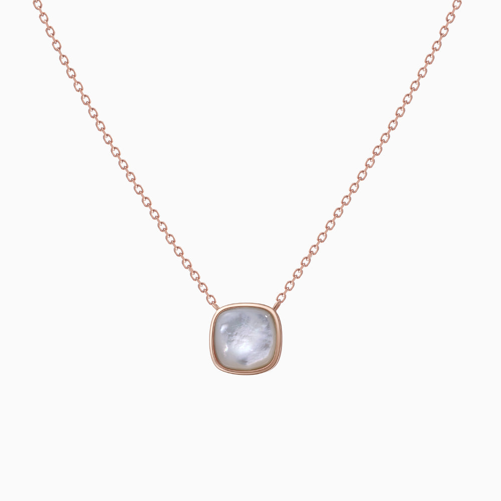 Mother of Pearl Square Pendant Necklace rose gold