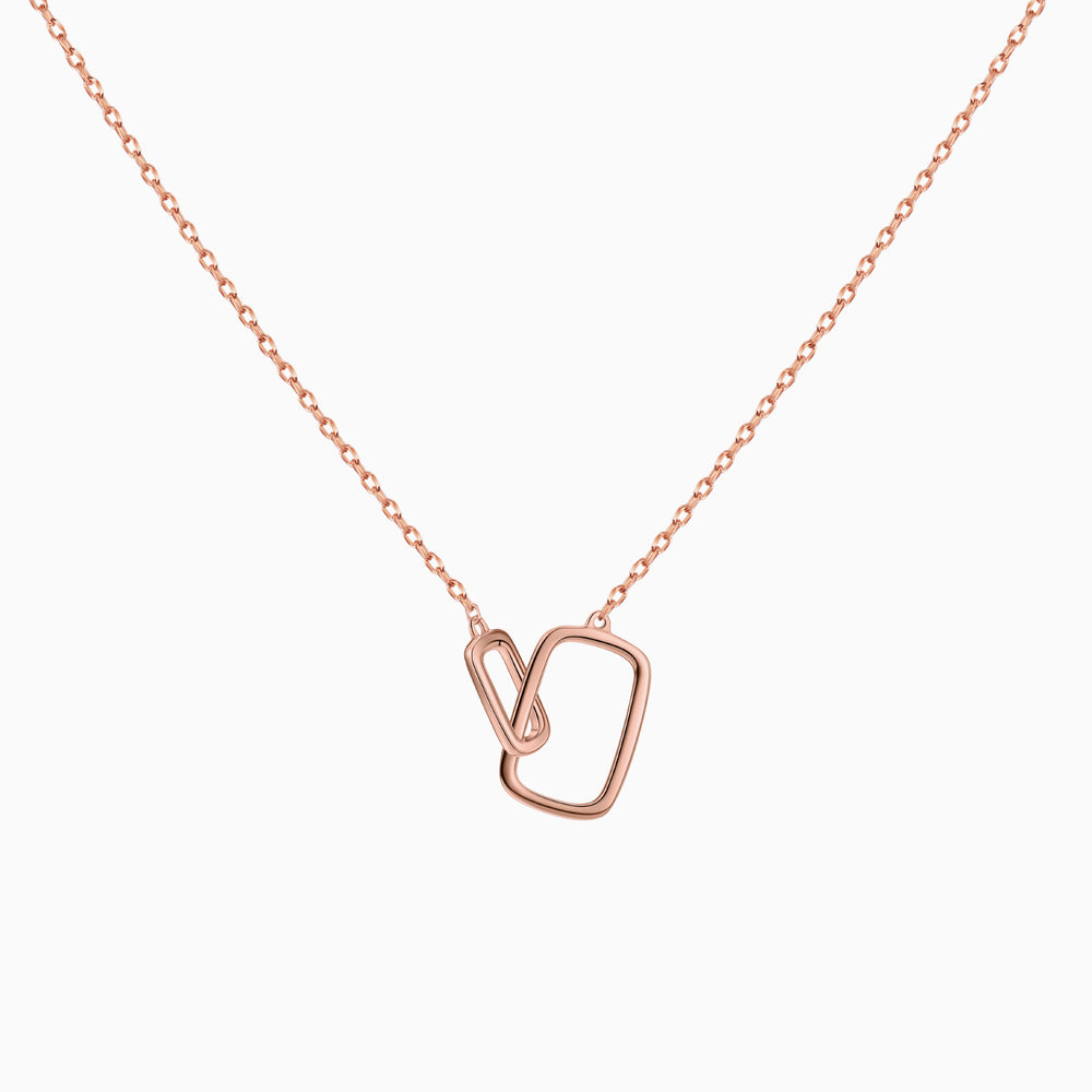 Interlocking Square Pendant Necklace