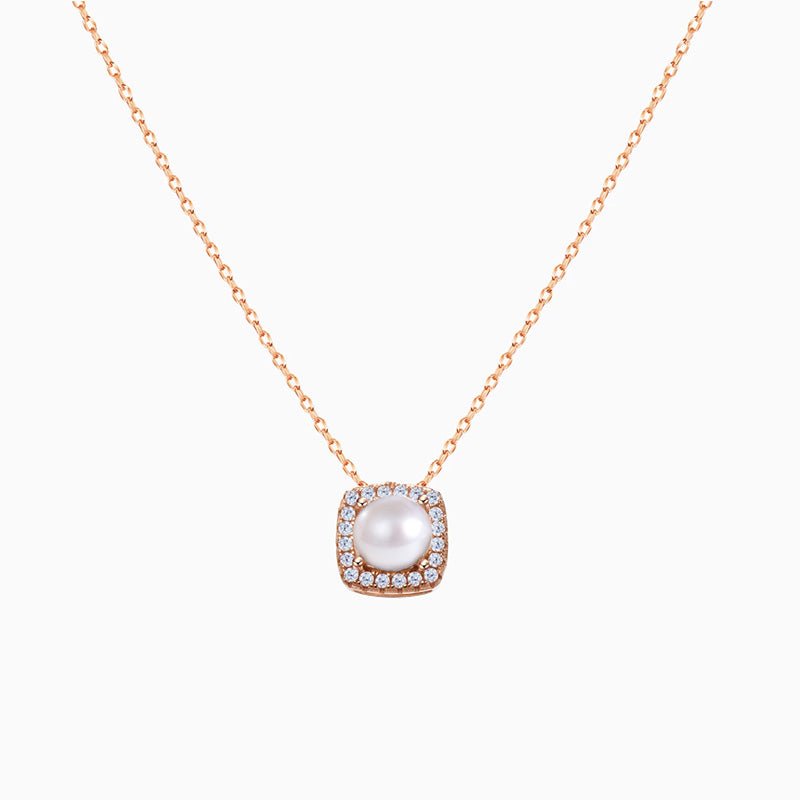 cubic zirconia Halo Pearl Necklace sterling silver rose gold